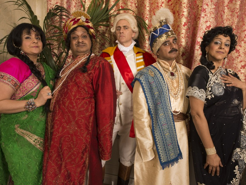 Programme Name: Goodness Gracious Me India Special 2015 - TX: n/a - Episode: Goodness Gracious Me India Special (No. n/a) - Picture Shows: Dennis & Charlotte Kapoor (left - Kulvinder Ghir & Nina Wadia) with rivals St. John and Vanessa Robinson (right - Sanjeev Bhaskar and Nina Wadia) meeting Robert Clive of India (middle - Dave Lamb) in 1756.     - (C) BBC - Photographer: Des Willie